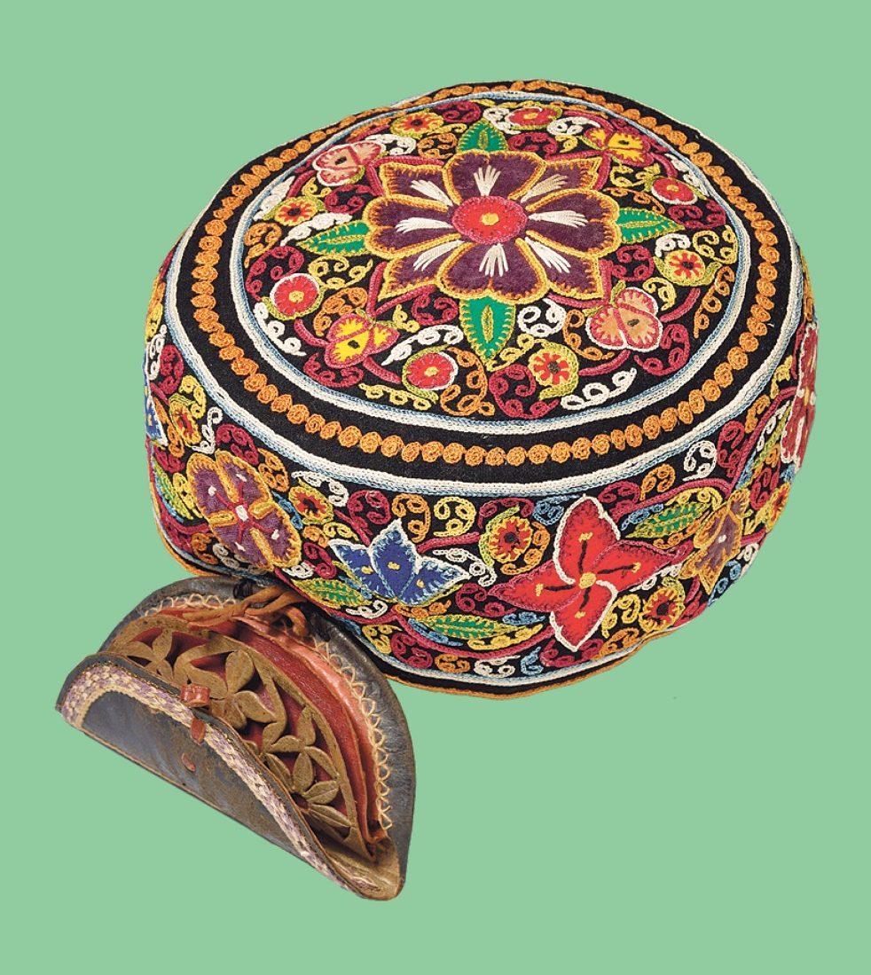 Damesmutsje, Iran, Rasht, 1875-1895, wollen flanel, zijden garen.