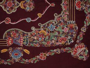 Wand- of plafondbekleding (detail), Iran, Rasht, 1875-1895, wollen flanel, zijden garen.