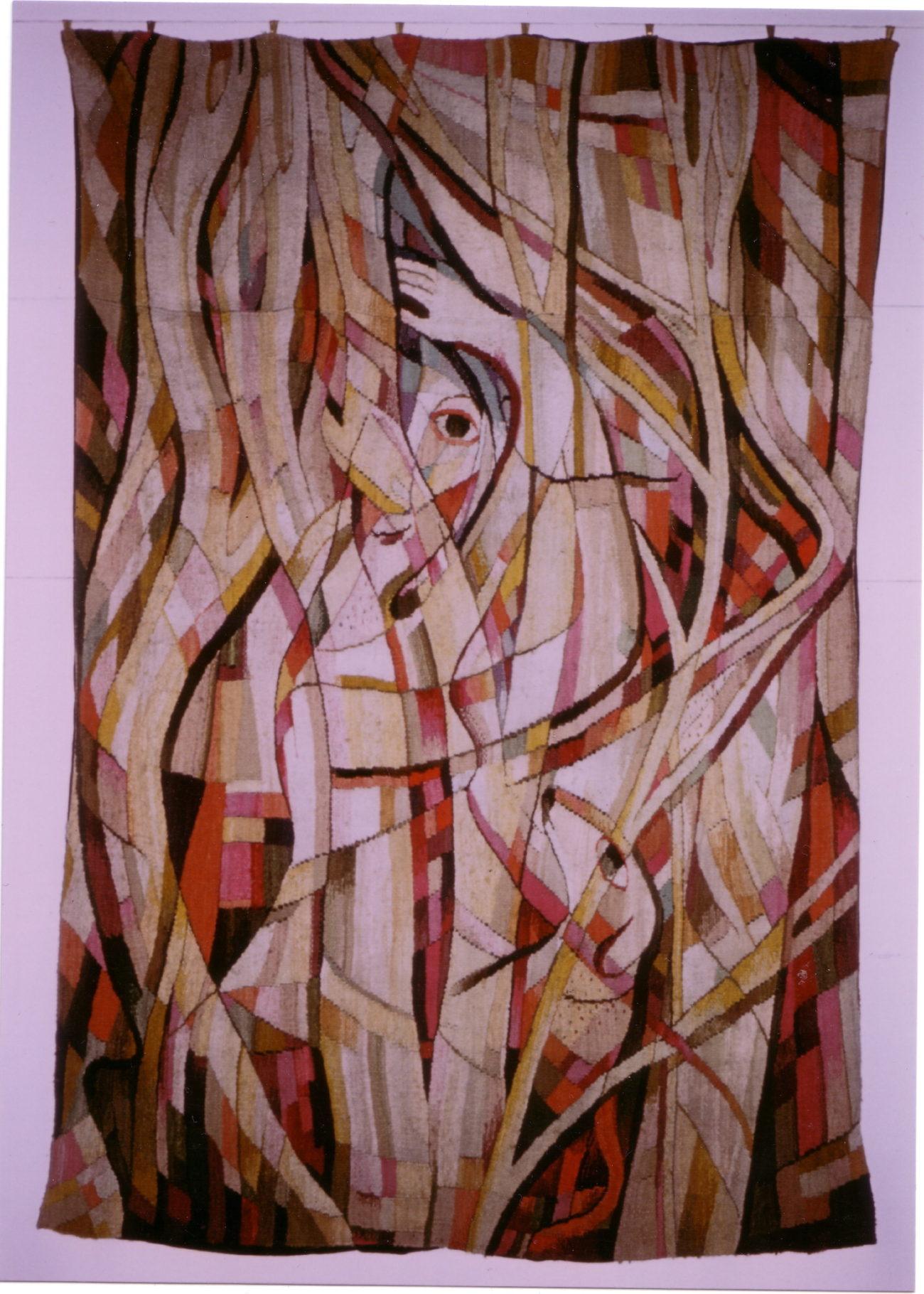 Johanna Schütz-Wolff - Frau unter Bäumen 1949 wol 190 x 130 cm - Handwerkwereld