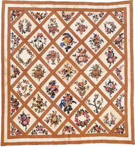 Baltimore Album Quilt uit 1834 met diagonalen - Handwerkwereld