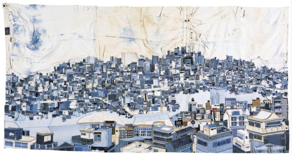 Choi So Young - Stad, 3 x 1,5 m, gemaakt in 2002 - jeans - Handwerkwereld