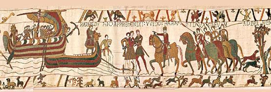 Het Normandische leger komt in Engeland aan land - restauratie Tapisserie de Bayeux - Handwerkwereld