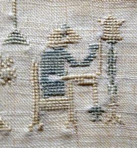 De spinnende aap, motief door Maria Pieternella Bimmel geborduurd - oudste merklappen Bevelanden - Handwerkwereld