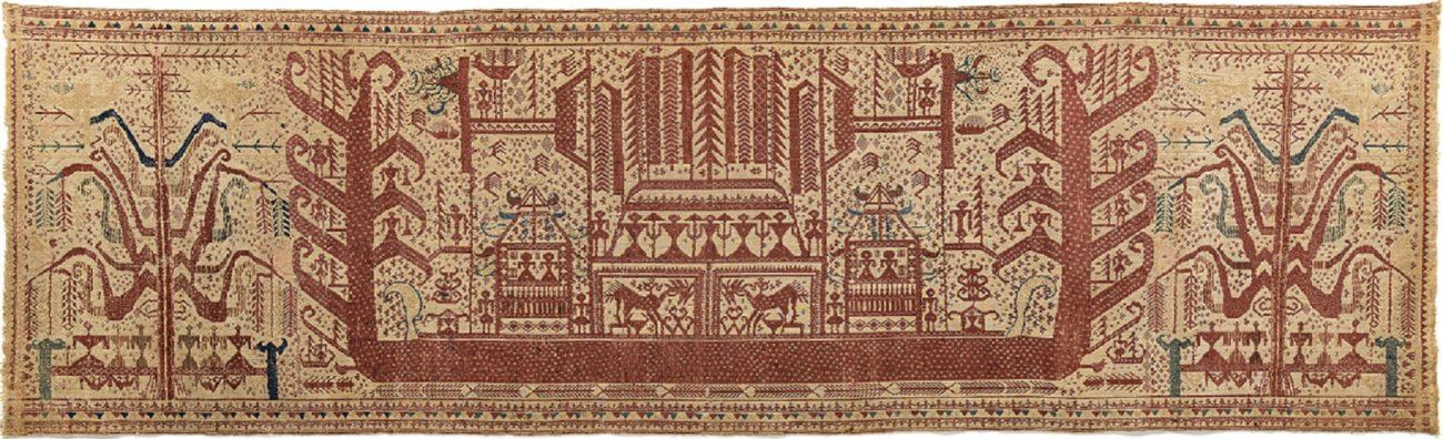 Ritueel doek palepai met scheepsmotief en levensbomen, Kalianda, Lampung, Zuid-Sumatra - Handwerkwereld